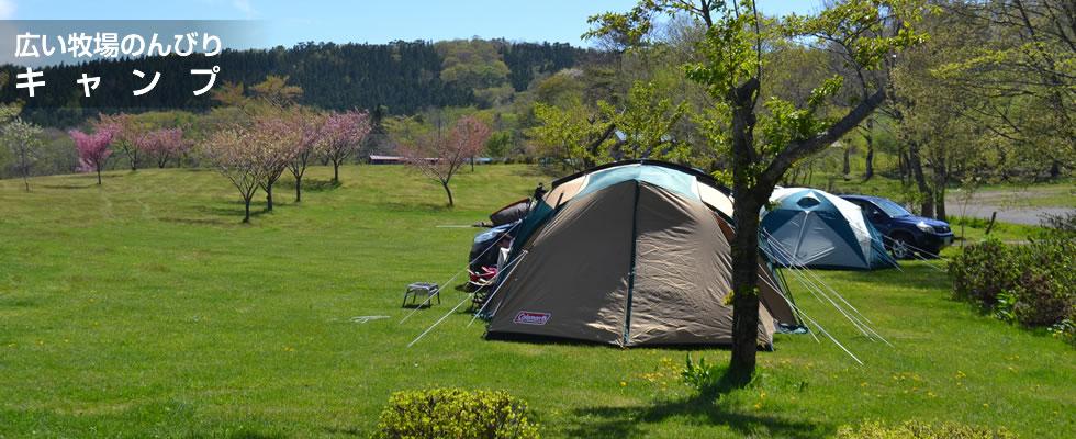広い牧場でのんびりキャンプ。